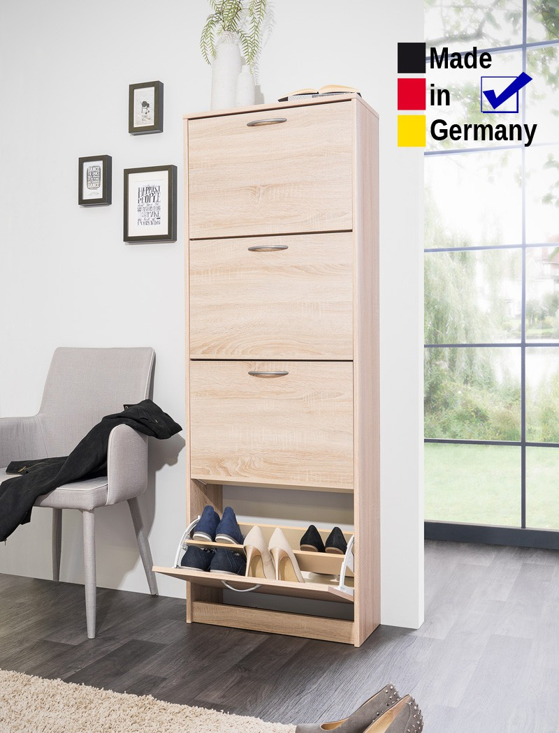schuhschrank maik 2 eiche sonoma 58x162x25cm schuhkipper dielenschrank wohnbereiche bad. Black Bedroom Furniture Sets. Home Design Ideas