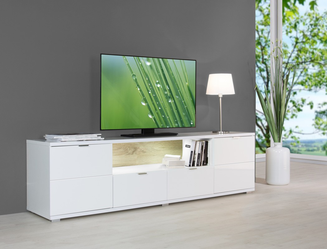 lowboard hochglanz wei 180x50x40 cm tv board mit beleuchtung tv schrank gladys ebay. Black Bedroom Furniture Sets. Home Design Ideas