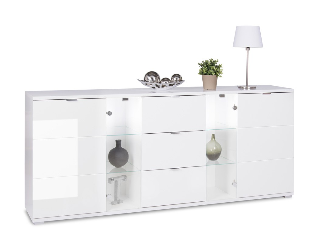 sideboard hochglanz wei 200x85x40 cm anrichte mit beleuchtung schrank gladys 4 ebay. Black Bedroom Furniture Sets. Home Design Ideas