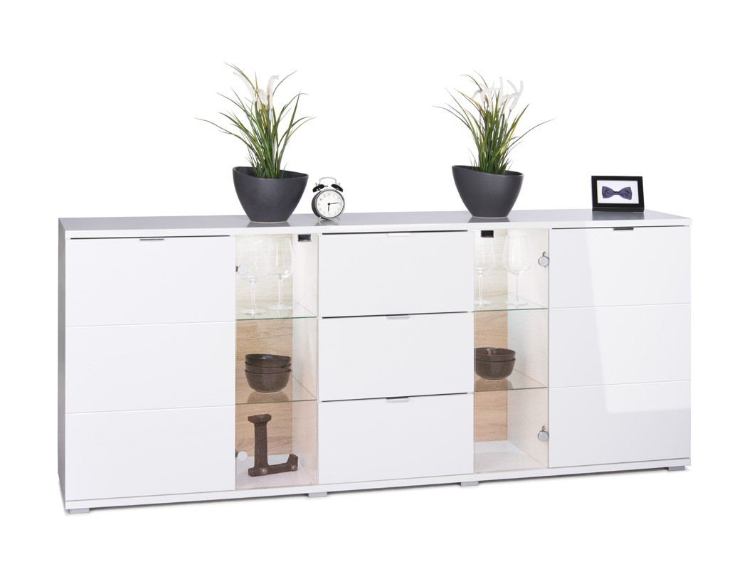 sideboard gladys 4 hochglanz wei 200x85x40cm anrichte mit. Black Bedroom Furniture Sets. Home Design Ideas