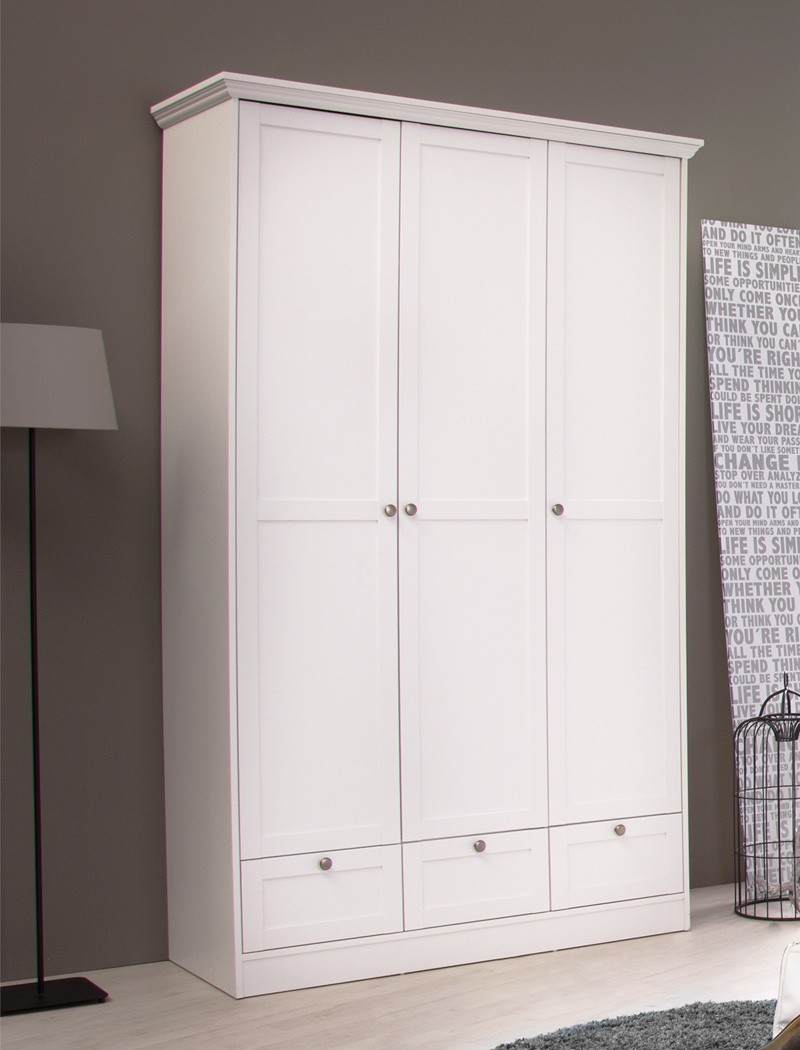 kleiderschrank wei 120x200x51 cm dreht renschrank schrank landstr m 18 ebay. Black Bedroom Furniture Sets. Home Design Ideas