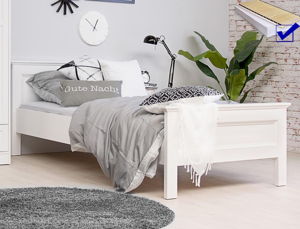 jugendbett landstr m 61 wei 90x200 singlebett lattenrost matratze wohnbereiche schlafzimmer. Black Bedroom Furniture Sets. Home Design Ideas