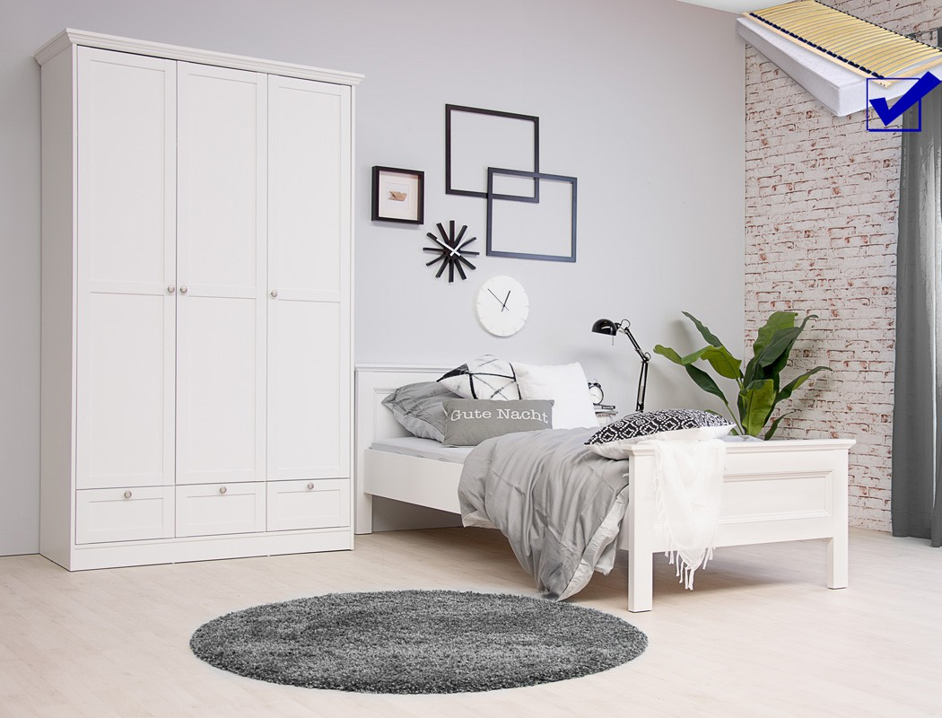 jugendzimmer landstr m 161 wei 5 teilig bett komplett. Black Bedroom Furniture Sets. Home Design Ideas