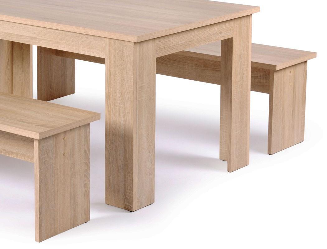 Tischgruppe Esstisch 140x80 cm 2x Bank Eiche Sonoma 4x Kissen ...
