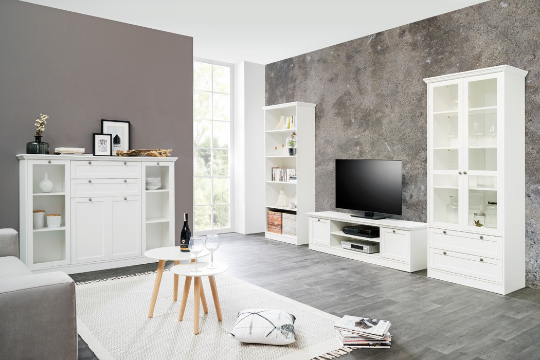 wohnzimmer landstr m 151 wei 4 teilig lowboard vitrine. Black Bedroom Furniture Sets. Home Design Ideas