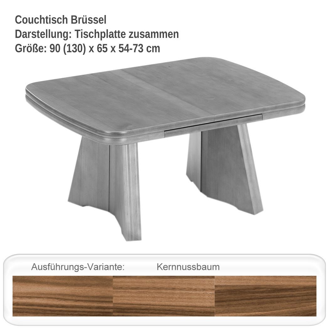 couchtisch ausziehbar 90 130 x65 cm h henverstellbar 54 73 cm nussbaum br ssel 4251177634383 ebay. Black Bedroom Furniture Sets. Home Design Ideas
