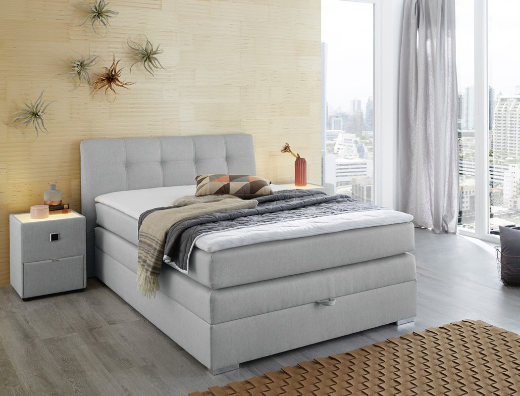 boxspringbett amalina 140x200 grau mit bettkasten und. Black Bedroom Furniture Sets. Home Design Ideas