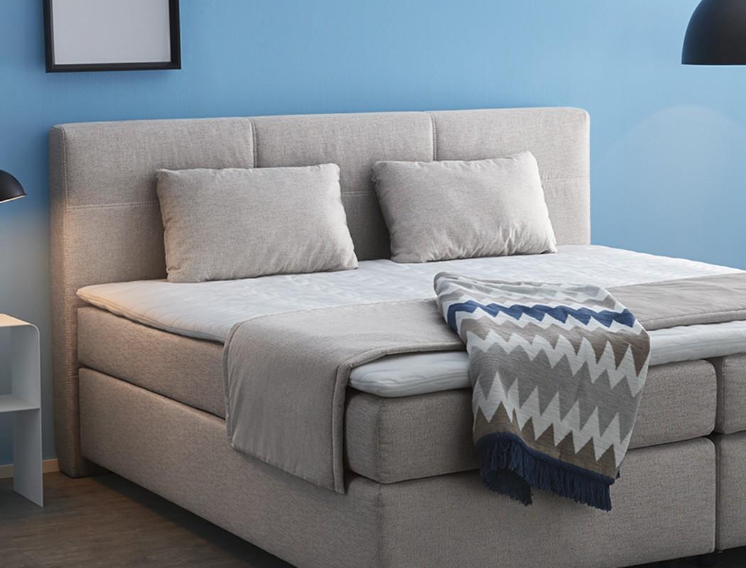 boxspringbett evin 180x200 braun beige mit topper kissen. Black Bedroom Furniture Sets. Home Design Ideas