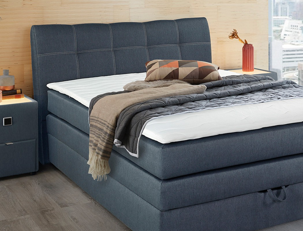 boxspringbett amalina 140x200 blau mit bettkasten topper hotelbett wohnbereiche schlafzimmer. Black Bedroom Furniture Sets. Home Design Ideas