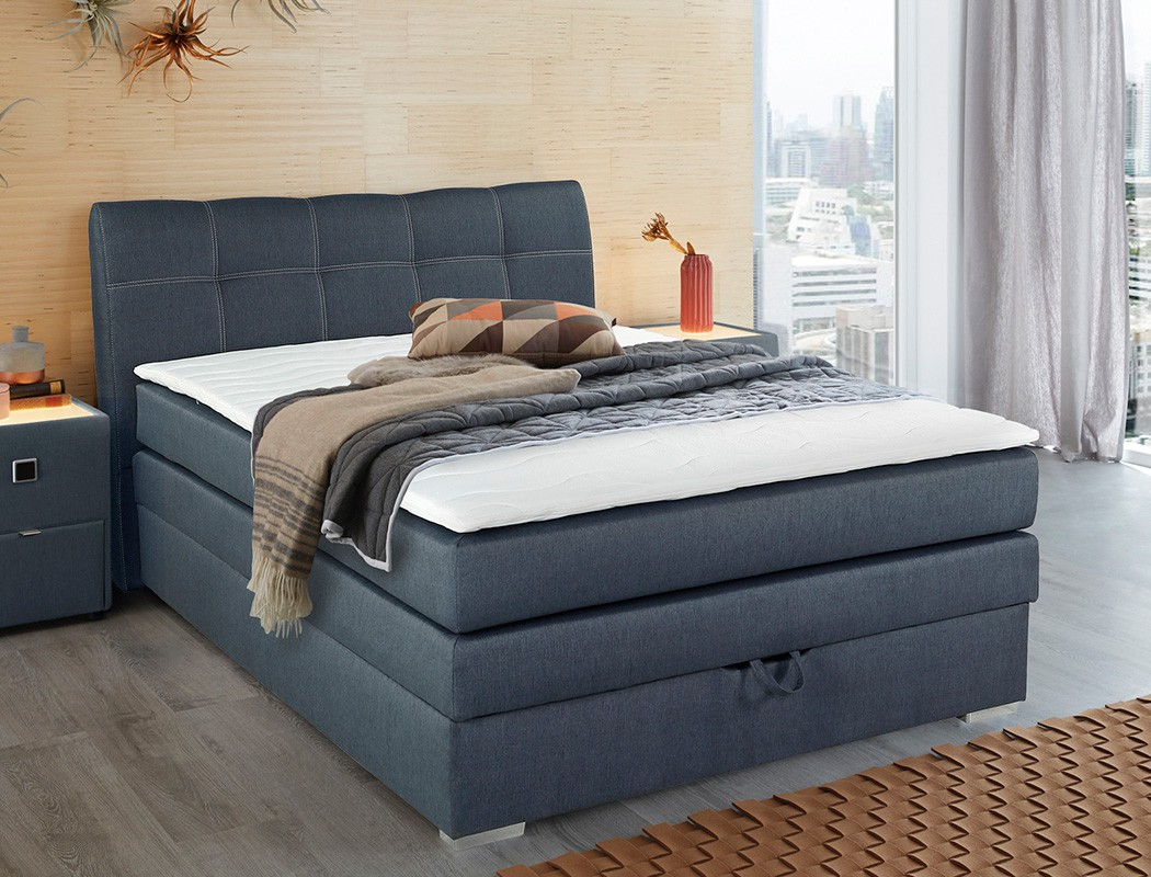 boxspringbett amalina 140x200 blau mit bettkasten topper. Black Bedroom Furniture Sets. Home Design Ideas