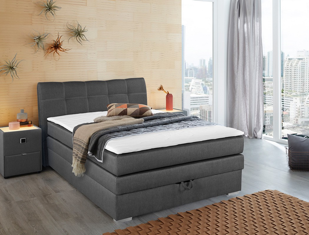 boxspringbett amalina 140x200 braun mit bettkasten topper hotelbett wohnbereiche schlafzimmer. Black Bedroom Furniture Sets. Home Design Ideas
