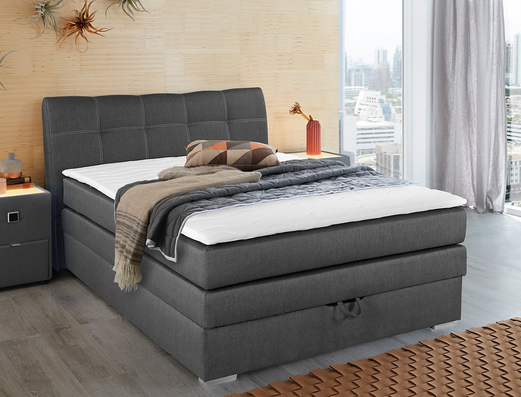 boxspringbett amalina 140x200 braun mit bettkasten topper. Black Bedroom Furniture Sets. Home Design Ideas