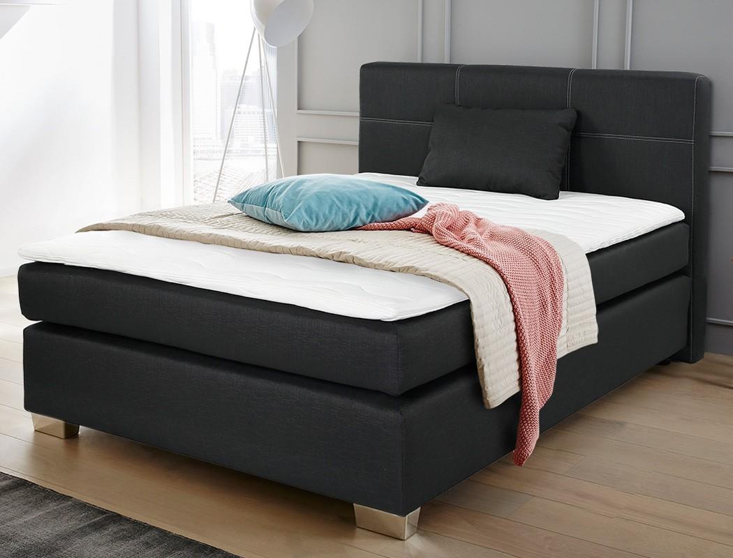 boxspringbett evin 140x200 schwarz mit topper und kissen singlebett wohnbereiche schlafzimmer. Black Bedroom Furniture Sets. Home Design Ideas
