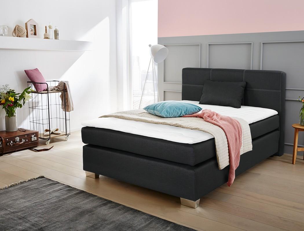 boxspringbett evin 140x200 schwarz mit topper und kissen singlebett komfortbett ebay. Black Bedroom Furniture Sets. Home Design Ideas