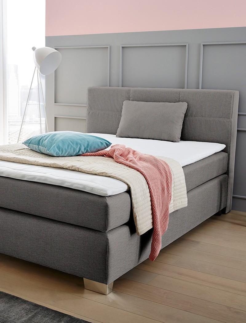 boxspringbett evin 140x200 cm grau mit topper und kissen. Black Bedroom Furniture Sets. Home Design Ideas