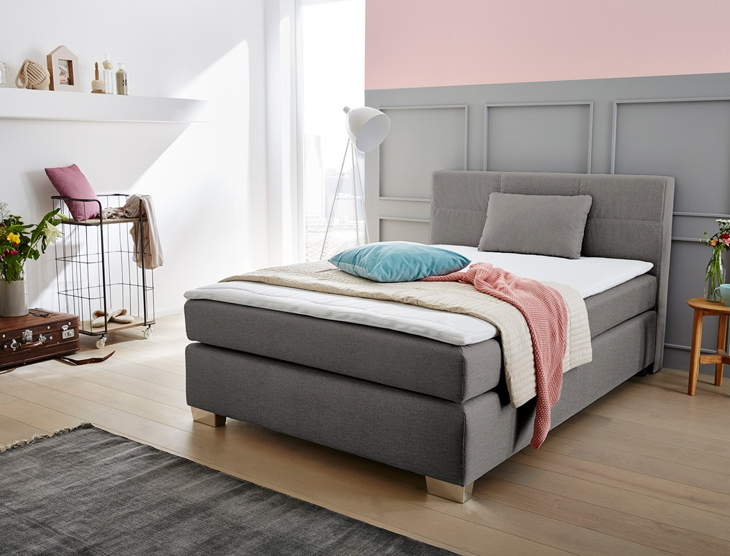 boxspringbett evin 140x200 cm grau mit topper und kissen singlebett wohnbereiche schlafzimmer. Black Bedroom Furniture Sets. Home Design Ideas