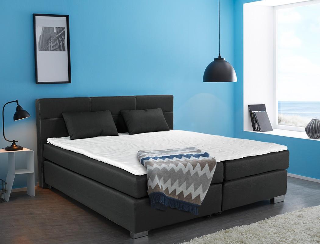 boxspringbett evin 180x200 schwarz mit topper und kissen. Black Bedroom Furniture Sets. Home Design Ideas