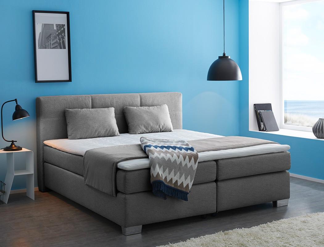 boxspringbett evin 180x200 cm grau mit topper und kissen komfortbett wohnbereiche schlafzimmer. Black Bedroom Furniture Sets. Home Design Ideas
