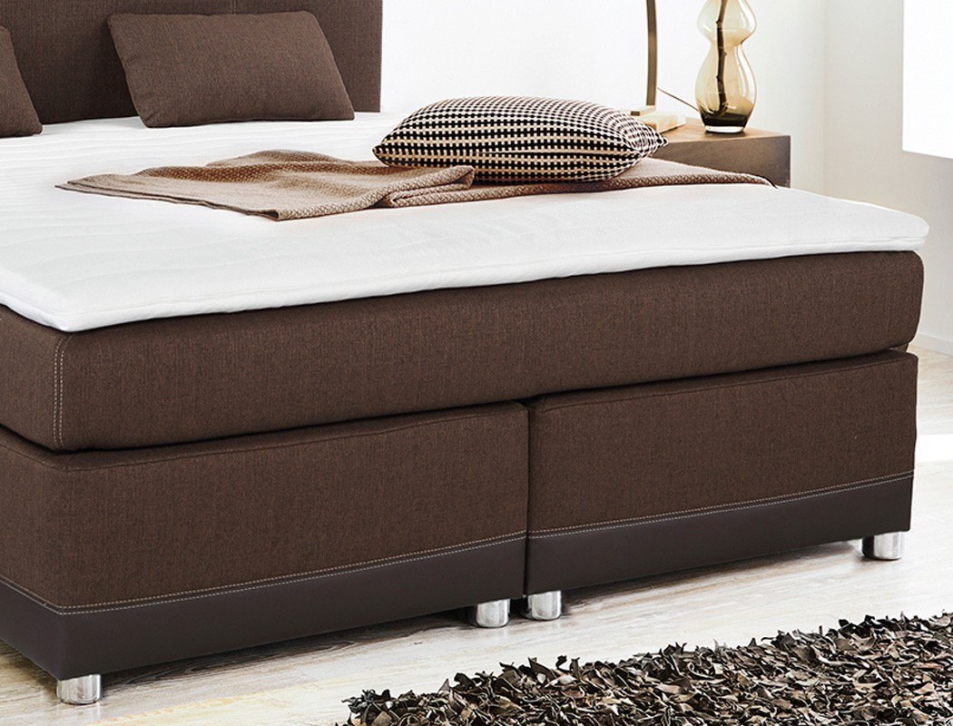 boxspringbett tiana 180x200 braun mit topper und kissen doppelbett komfortbett 4251177634888 ebay. Black Bedroom Furniture Sets. Home Design Ideas