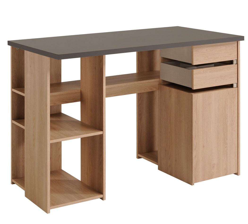 Schreibtisch crimoni brooklyn eiche grau 126x90x65 cm for Schreibtisch eiche grau