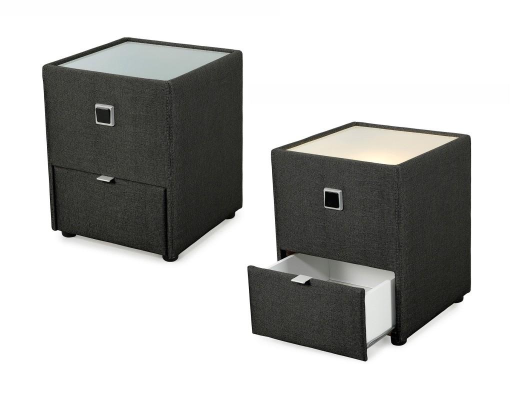 nachttisch leya schwarz 43x53x45 cm nachtkonsole mit beleuchtung nako wohnbereiche schlafzimmer. Black Bedroom Furniture Sets. Home Design Ideas