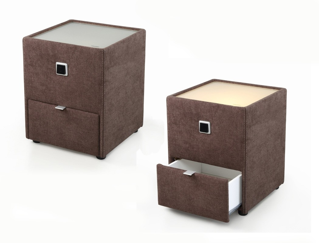nachttisch leya braun 43x53x45 cm nachtkonsole mit beleuchtung nako wohnbereiche schlafzimmer. Black Bedroom Furniture Sets. Home Design Ideas