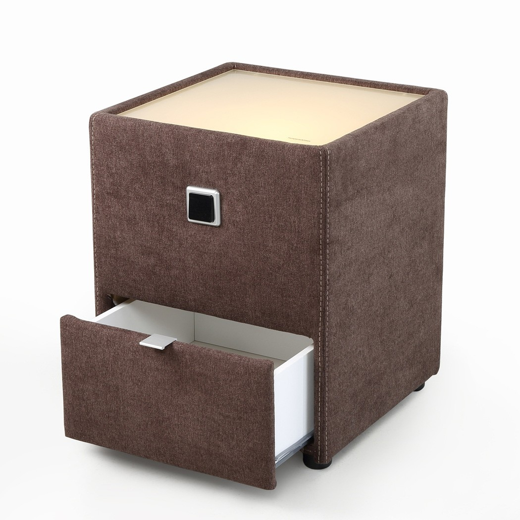 nachttisch leya dunkelgrau 43x53x45 cm nachtkonsole mit. Black Bedroom Furniture Sets. Home Design Ideas