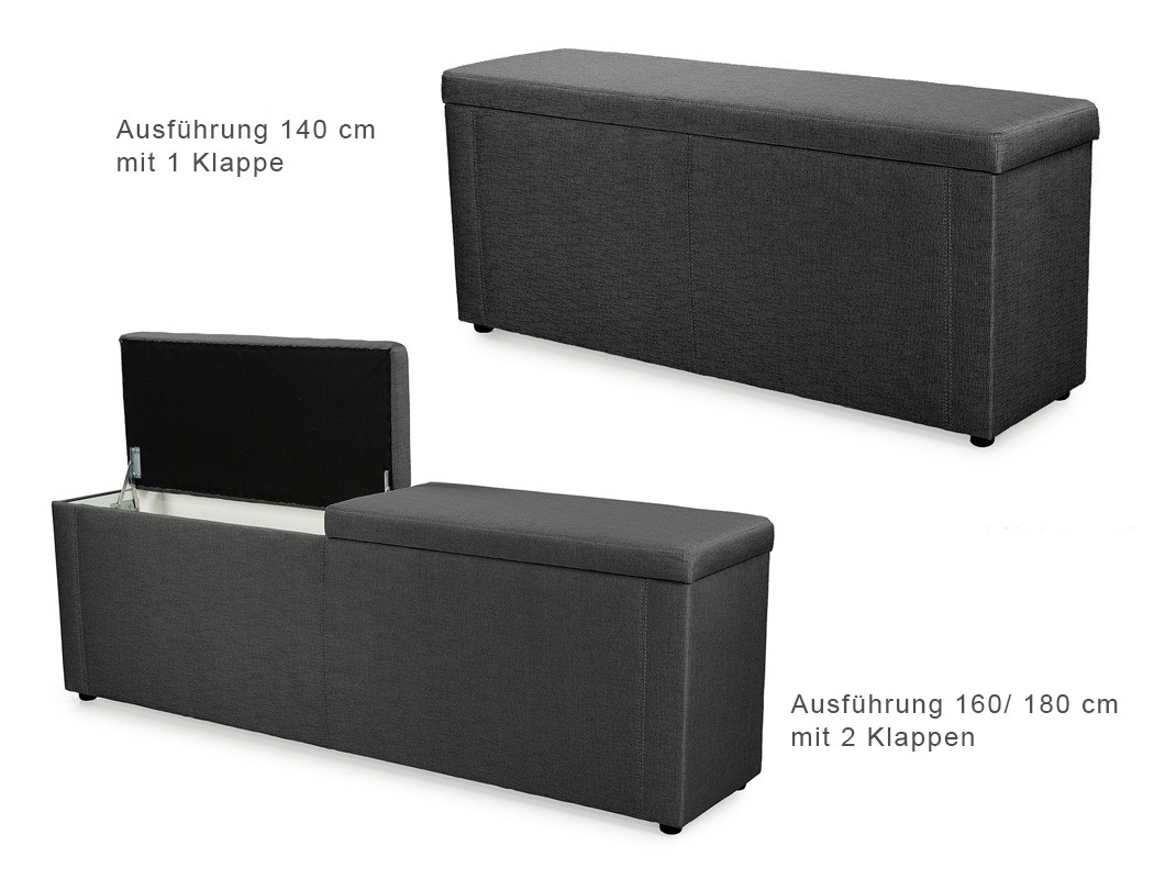 truhenbank ruth schwarz 140cm 160cm 180cm polsterbank bank w schetruhe wohnbereiche schlafzimmer. Black Bedroom Furniture Sets. Home Design Ideas