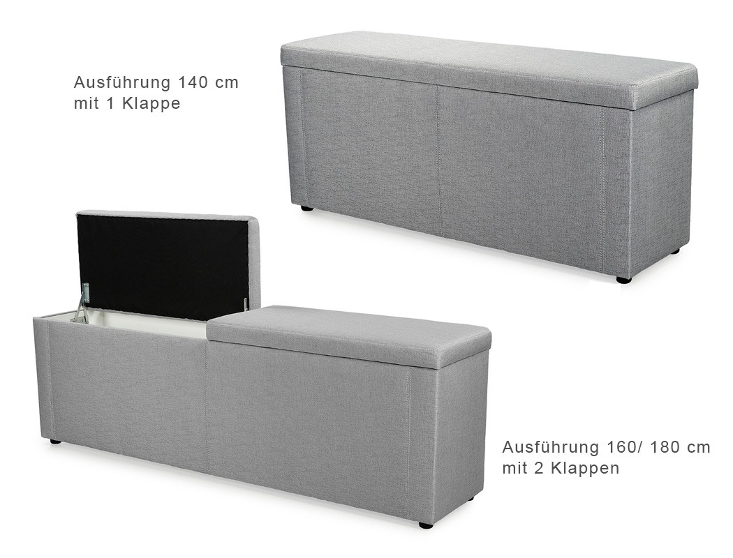 truhenbank ruth grau 140cm 160cm 180cm polsterbank bank w schetruhe wohnbereiche schlafzimmer. Black Bedroom Furniture Sets. Home Design Ideas