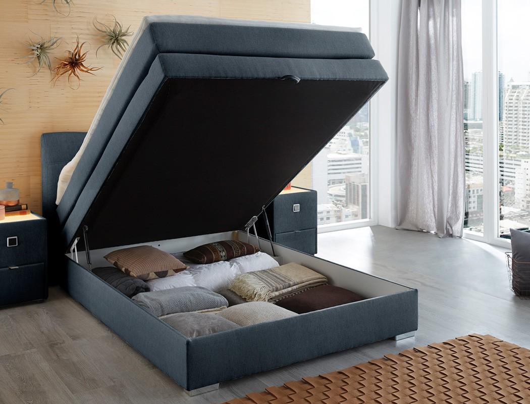 boxspringbett amalina 140x200 blau nachttisch mit. Black Bedroom Furniture Sets. Home Design Ideas