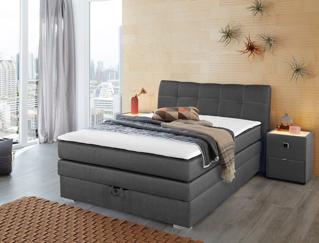 boxspringbett amalina 140x200 braun nachttisch mit beleuchtung wohnbereiche schlafzimmer. Black Bedroom Furniture Sets. Home Design Ideas