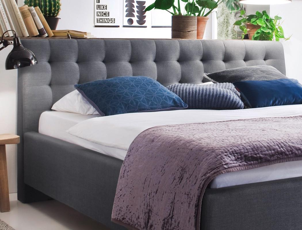polsterbett luke 180x200 grau doppelbett ehebett bettgestell futonbett wohnbereiche schlafzimmer. Black Bedroom Furniture Sets. Home Design Ideas