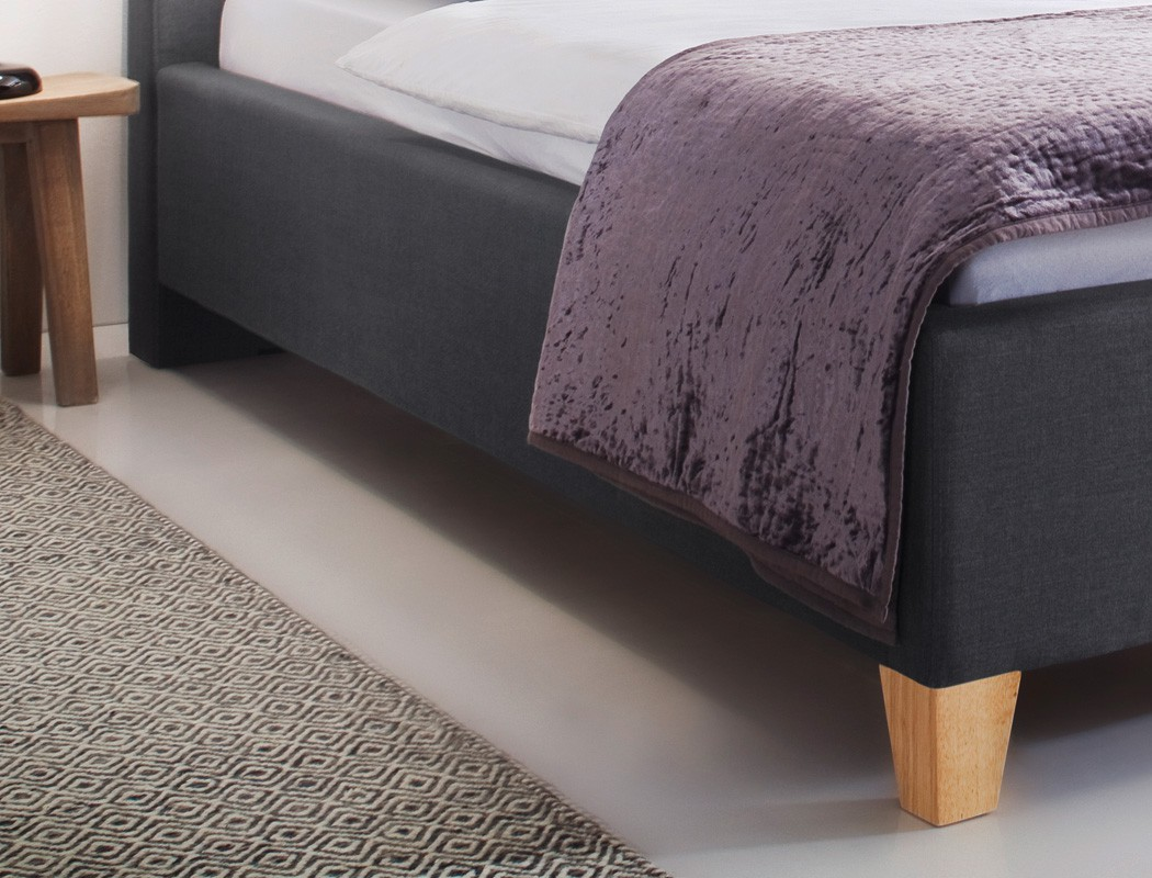 polsterbett luke 140x200 grau singlebett jugendbett lattenrost matratze bett ebay. Black Bedroom Furniture Sets. Home Design Ideas