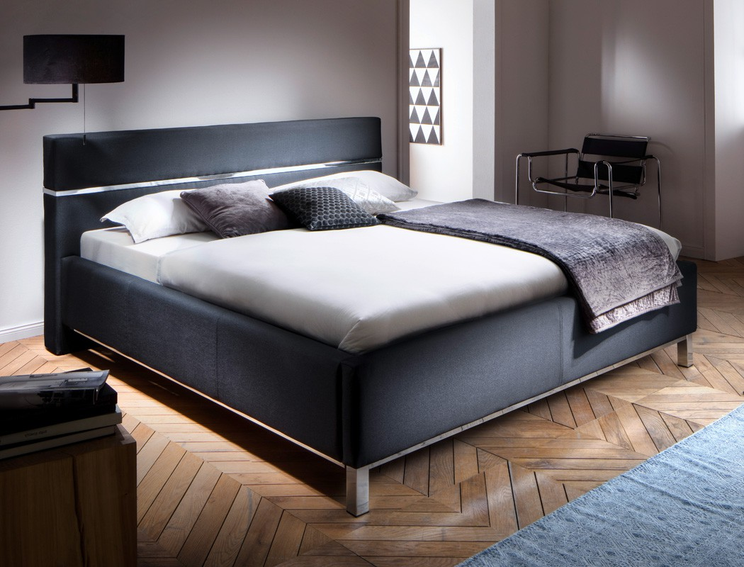 polsterbett baldur 180x200 schwarz doppelbett ehebett bettgestell futonbett bett ebay. Black Bedroom Furniture Sets. Home Design Ideas