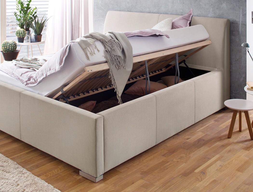 polsterbett mit bettkasten larissa kopfteil glatt. Black Bedroom Furniture Sets. Home Design Ideas