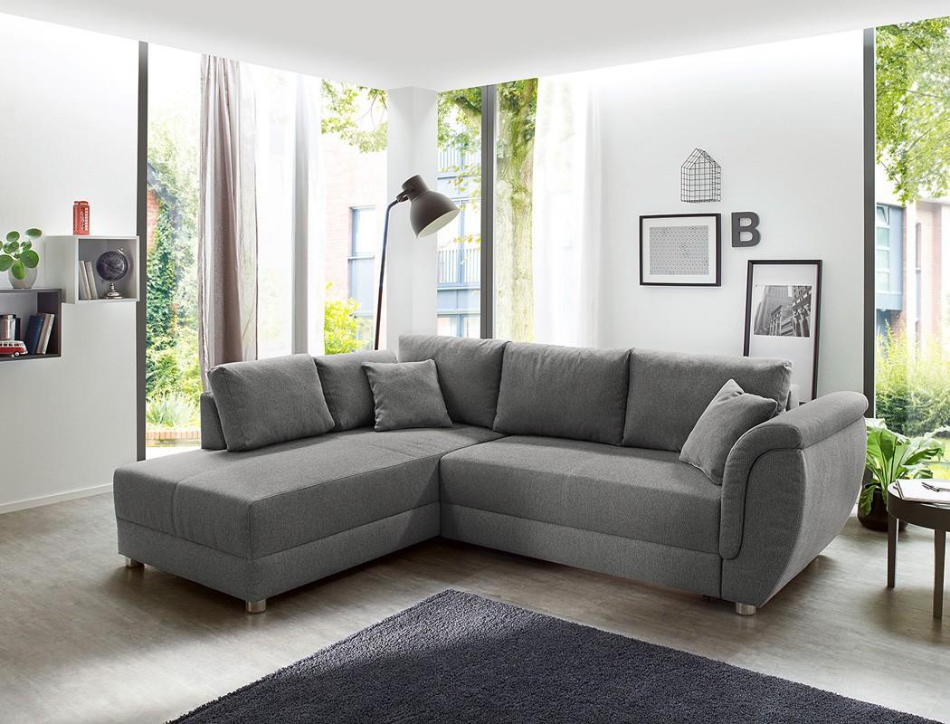wohnlandschaft tapio 256x196 cm grau schlafsofa eckcouch. Black Bedroom Furniture Sets. Home Design Ideas