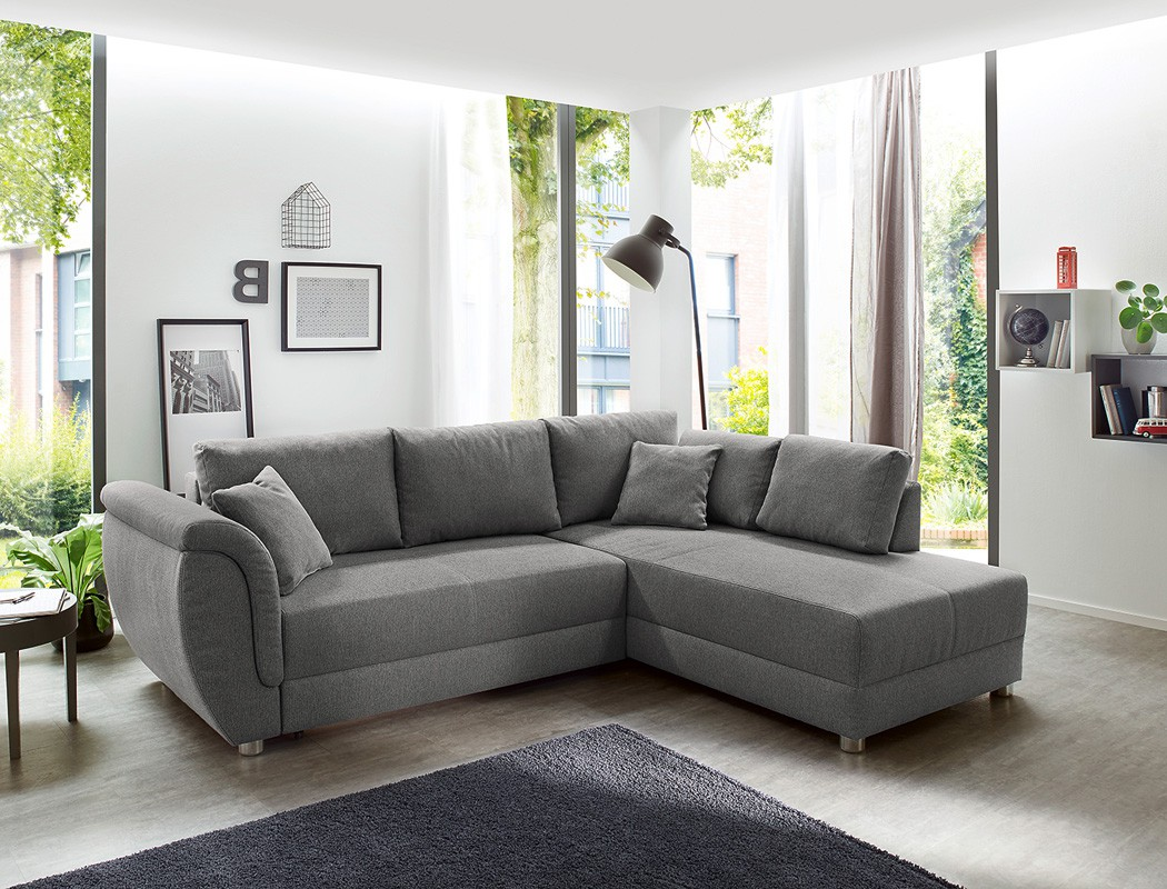 wohnlandschaft tapio 256x196 cm grau schlafsofa couch sofa. Black Bedroom Furniture Sets. Home Design Ideas