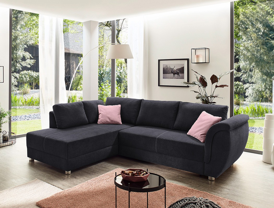 wohnlandschaft tapio 256x196 cm schwarz schlafsofa couch. Black Bedroom Furniture Sets. Home Design Ideas