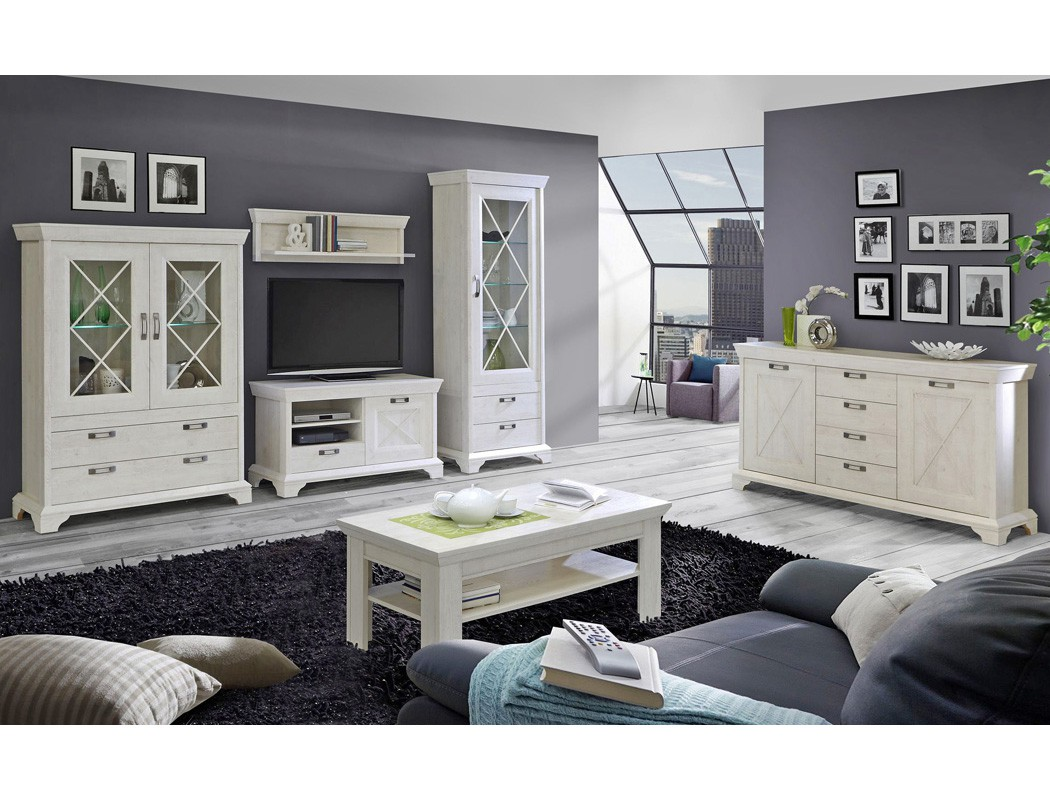 wohnwand kasimir 20 pinie wei 4 teilig led beleuchtung landhausstil wohnbereiche wohnzimmer. Black Bedroom Furniture Sets. Home Design Ideas