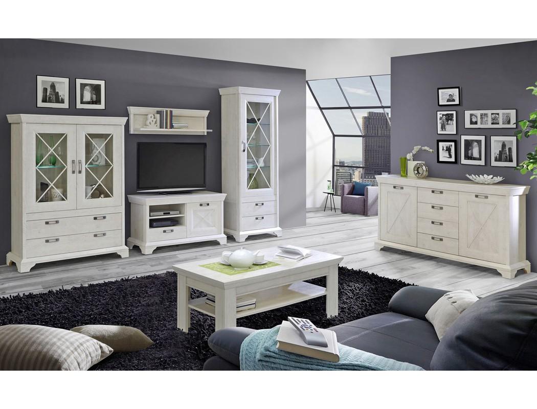 Wohnwand Kasimir 20 Pinie weiß 4-teilig LED-Beleuchtung Wohnzimmer ...