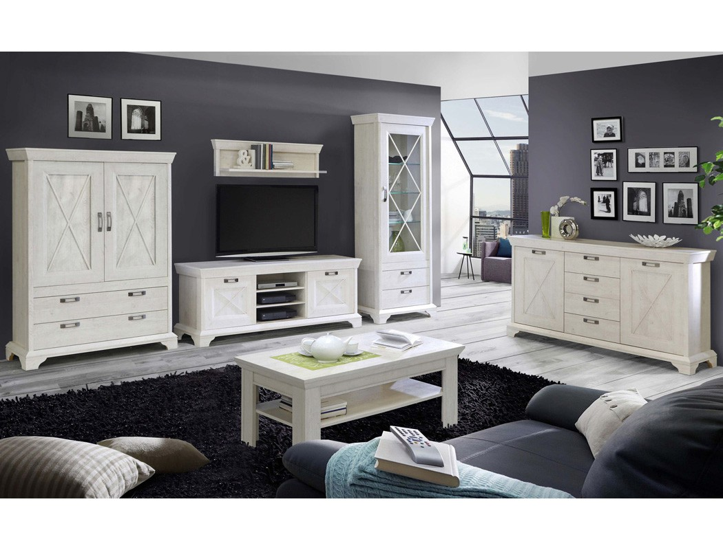 wohnzimmer kasimir 32 pinie wei 6 teilig led beleuchtung landhausstil wohnbereiche wohnzimmer. Black Bedroom Furniture Sets. Home Design Ideas