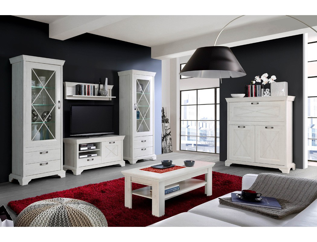 wohnzimmer kasimir 34 pinie wei 6 teilig led beleuchtung landhausstil wohnbereiche wohnzimmer. Black Bedroom Furniture Sets. Home Design Ideas