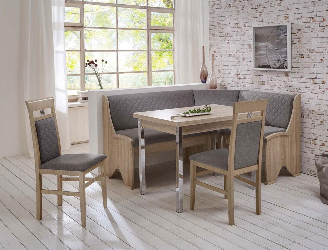 eckbankgruppe sonja sonoma 2x stuhl eckbank ausziehtisch verchromt wohnbereiche esszimmer. Black Bedroom Furniture Sets. Home Design Ideas