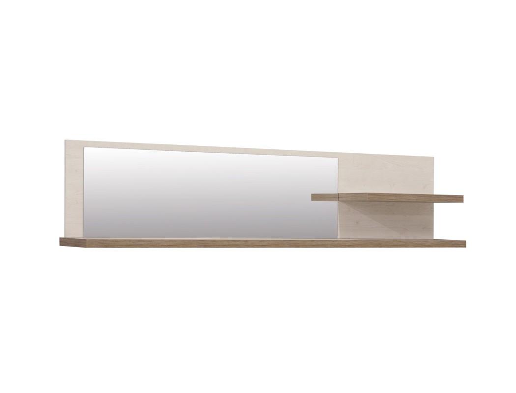 wandregal durio 13 pinie wei 213x47x26 cm mit spiegel wandboard regal wohnbereiche wohnzimmer. Black Bedroom Furniture Sets. Home Design Ideas