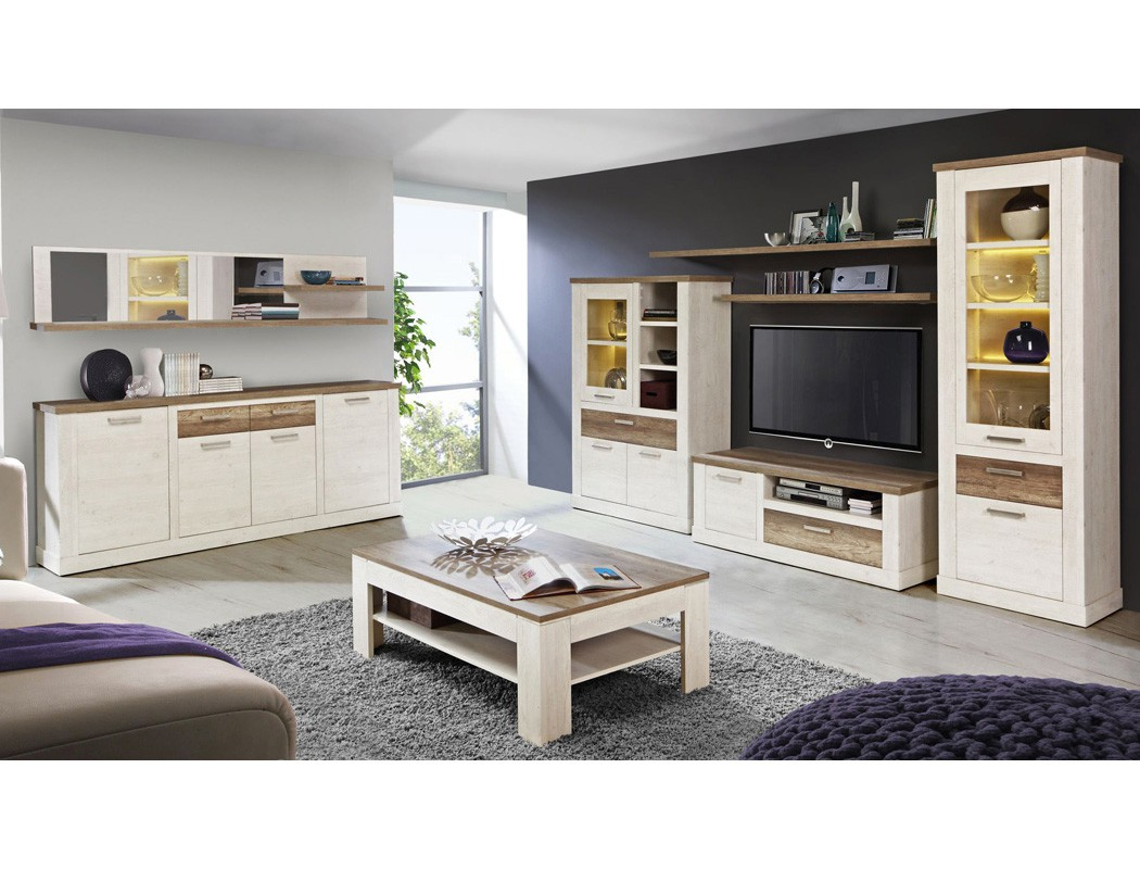 wandregal durio 13 pinie wei 213x47x26 cm mit spiegel wandboard regal wohnbereiche wohnzimmer. Black Bedroom Furniture Sets. Home Design Ideas