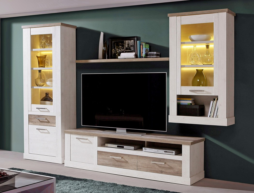 wohnwand durio 20 pinie wei 4 teilig 2x vitrine lowboard. Black Bedroom Furniture Sets. Home Design Ideas