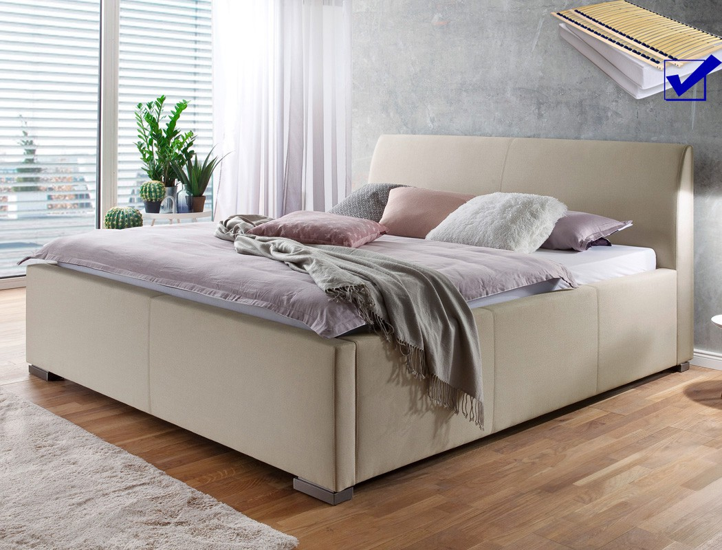 polsterbett larissa 180x200 beige doppelbett bett lattenrost matratze wohnbereiche schlafzimmer. Black Bedroom Furniture Sets. Home Design Ideas