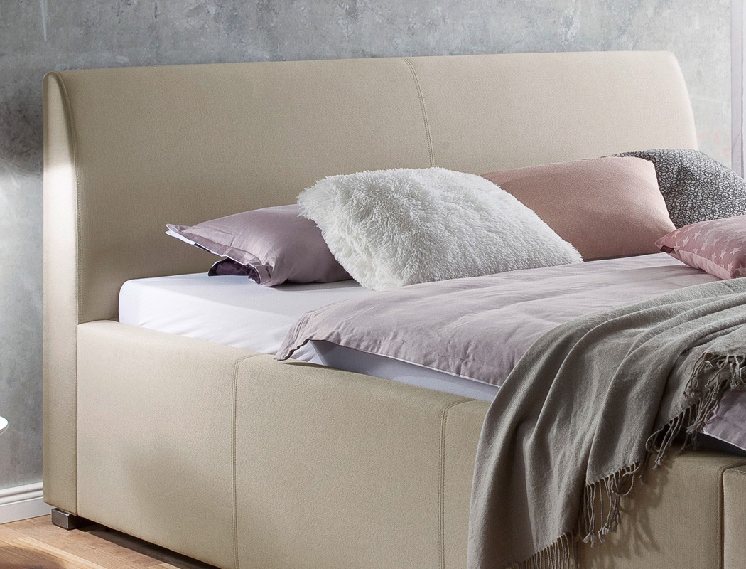 polsterbett mit bettkasten larissa 180x200 beige doppelbett ehebett lattenrost 4251177637100 ebay. Black Bedroom Furniture Sets. Home Design Ideas