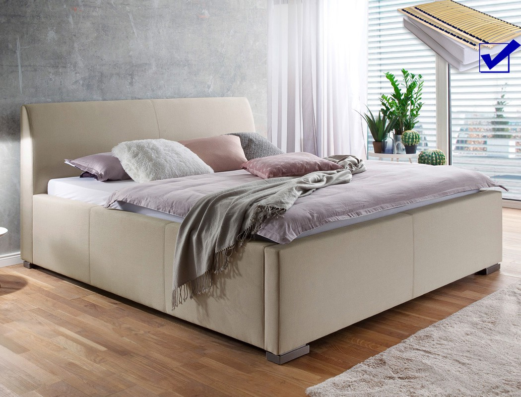 polsterbett mit bettkasten larissa 180x200 beige doppelbett lattenrost matratze ebay. Black Bedroom Furniture Sets. Home Design Ideas