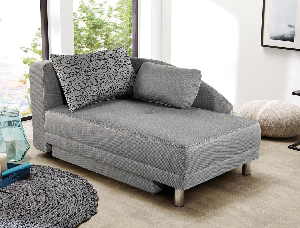 recamiere 149x90 cm grau ottomane schlafsofa couch sofa bettkasten rocco 4251177637414 ebay. Black Bedroom Furniture Sets. Home Design Ideas
